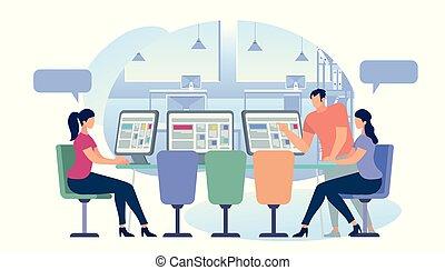 mensen, internet, jonge, networking., sociaal, koffiehuis