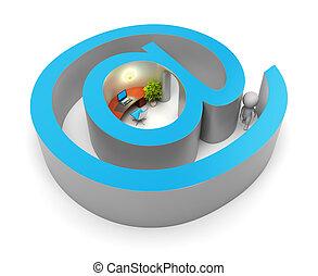 mensen, -, internet, kleine, invoer, 3d