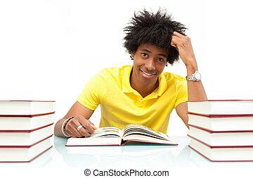 mensen, -, jonge, amerikaan, boekjes , student, afrikaan, lezende