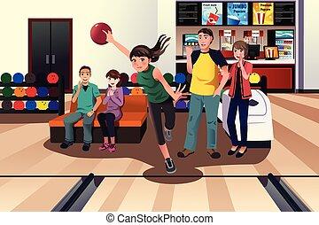 mensen, jonge, bowling