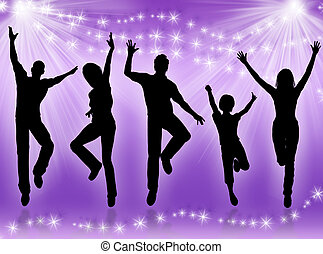 mensen, jonge, dancing