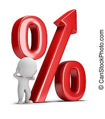 mensen, -, kleine, groeiende, percentage, 3d