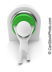 mensen, knoop, -, dringend, groene, kleine, 3d