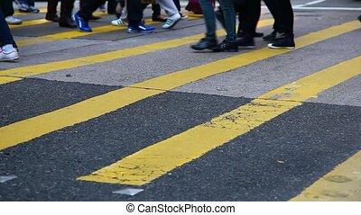 mensen, kruising, stad straat