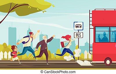 mensen, lagging, bus, achter