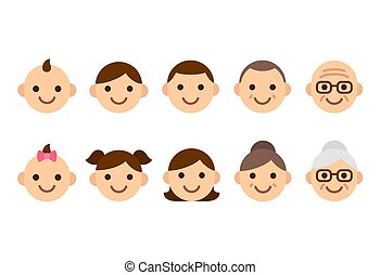 mensen, leeftijden, iconen