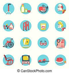 mensen, leven, voorwerpen, icons., plat, bejaarden