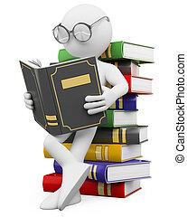 mensen., lezen, boek, student, witte , 3d