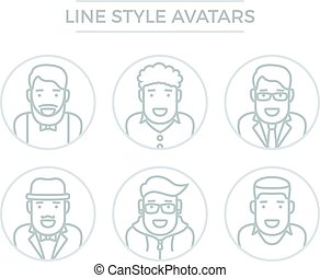 mensen, lijn, avatars