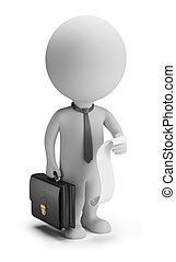 mensen, lijst, -, kleine, zakenman, gevallen, 3d