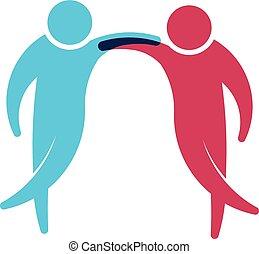 mensen, logo., groep, van, twee vrienden