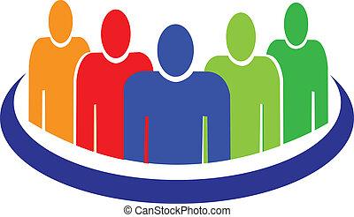 mensen, logo, vector