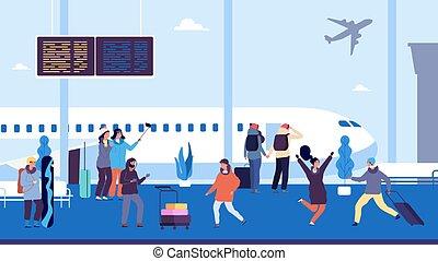 mensen, luchthaven, winter, ontmoeten, suitcases., vlucht, ...
