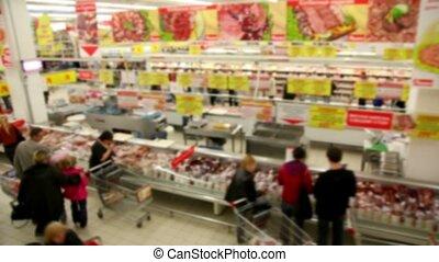 mensen, maken, aankopen, op, de, winkel