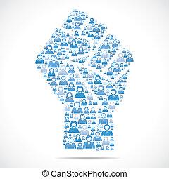 mensen, maken, groep, hand, eenheid