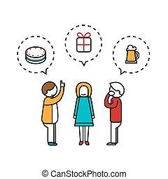 mensen, maken, wish., illustratie, vector, achtergrond, witte