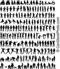 mensen, malen, vermalen, silhouettes, vector, werken