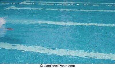 mensen, man, sportende, zwembad