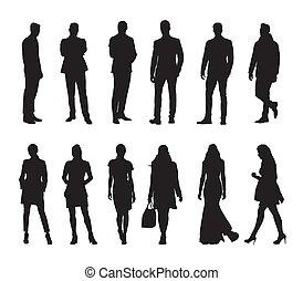 mensen, mannen, silhouettes, groep, zakelijk, vector, women., vrijstaand
