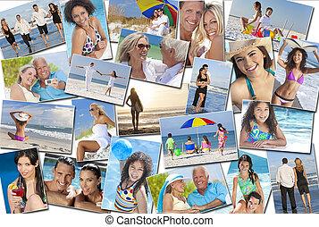 mensen, mannen, vrouwen, kinderen, gezin, zet op het strand vakantie, vakantie