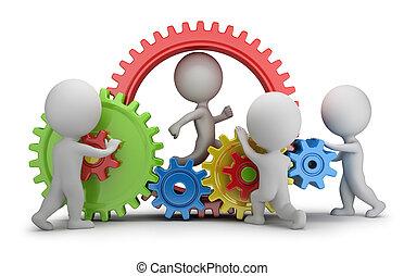 mensen, -, mechanisme, team, kleine, 3d