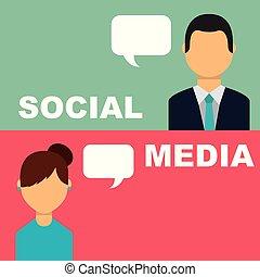 mensen, media, bel, klesten, toespraak, sociaal, spandoek