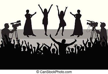 mensen, media), exploitanten, publiek, beroemdheden, (mass, silhouette., vrolijk, scène, vector