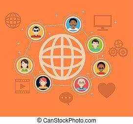 mensen, media, globale verbinding, sociaal, items