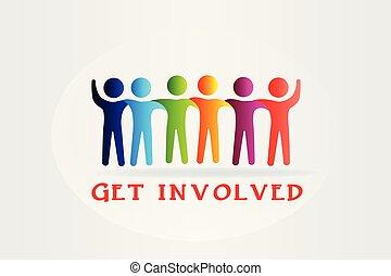 mensen, media, krijgen, vector, in kwestie, logo, sociaal