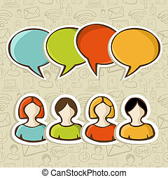 mensen, media, op, verbinding, sociaal, model