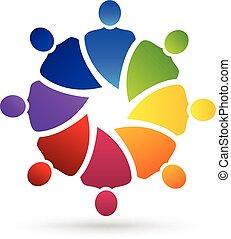 mensen, media, sociaal, logo, teamwork