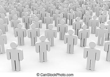 mensen., menigte, 3d
