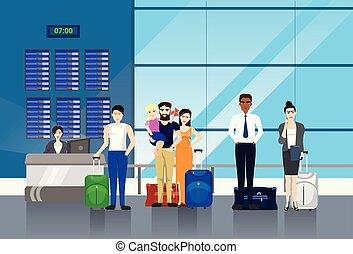 mensen, met, bagage, het staan in de lijn, om te, toonbank, in, luchthaven, voor, opschrijven