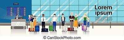 mensen, met, bagage, het staan in de lijn, om te, toonbank, in, luchthaven, voor, opschrijven, horizontaal, spandoek
