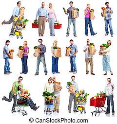 mensen, met, een, kruidenierswinkel, cart.