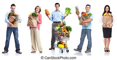 mensen, met, groentes, en, fruits.