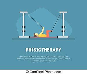 mensen, na, illustratie, rehabilitatie, orthopedic, vector, mal, geneeskunde, oefeningen, lichamelijk, spandoek, blessures, fysiotherapie