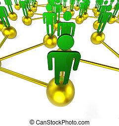 mensen, netwerk, indiceert, globale mededelingen, en, praatje