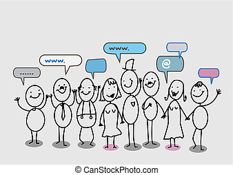 mensen, netwerk, sociaal