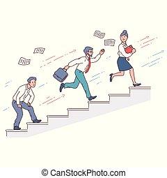 mensen, omhoog tegen, rennende , hardloop, zakenman, trap, anderen
