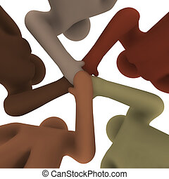 mensen, -, onder, anders, handen, aansluiting