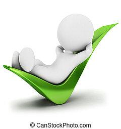 mensen, ontspannen, controleren, 3d, witte
