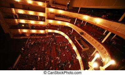 mensen, op, breek in, operette, theater
