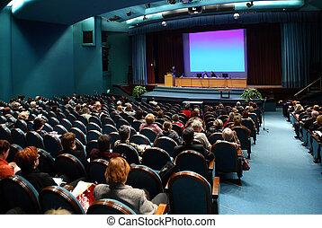 mensen, op, conferentie