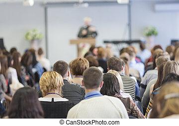 mensen, op, de, conferentie