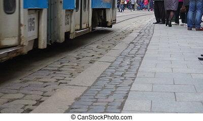mensen, op, de, tram, stop.