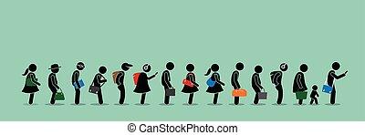 mensen, op, lang, queuing, rij, lijn.