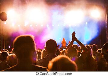mensen, op, muziek concert