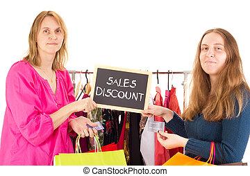mensen, op, shoppen , tour:, omzet, korting