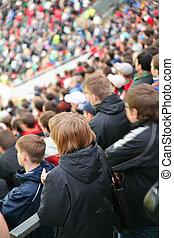 mensen, op, stadion